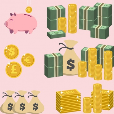 savings design elements piggy bank coin money icons