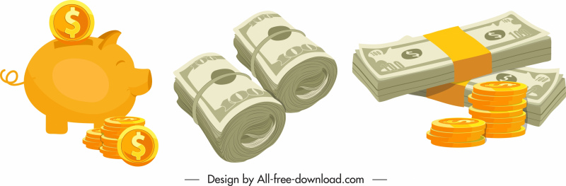 savings icons piggy bank cash coins sketch