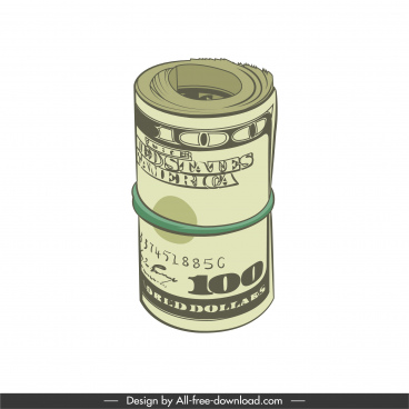 savings icons rolled dollar sketch 3d design