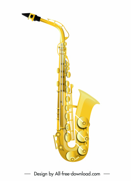 saxophone icon shiny modern golden decor