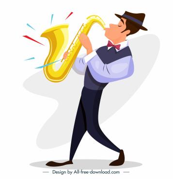 saxophonist icon dynamic flat cartoon sketch
