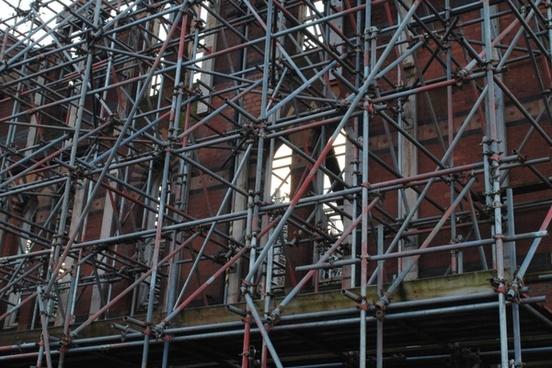 scaffolding around a derelict build