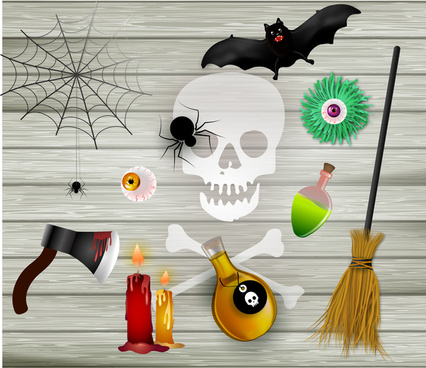 scary halloween icons sets on wooden background