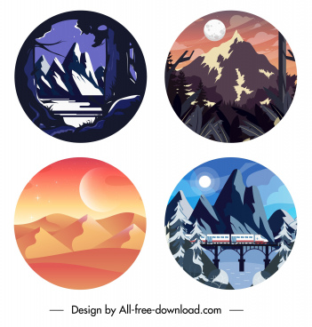 scenery backgrounds classic mountain desert sketch circle isolation