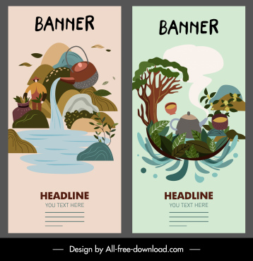scenery banner templates classical handdrawn water pot sketch
