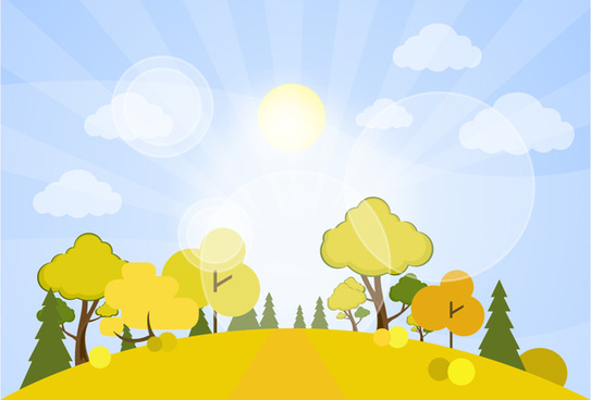 scenery drawing design with sunshine and trees