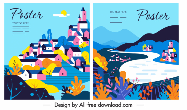 scenery poster templates colorful classical sketch