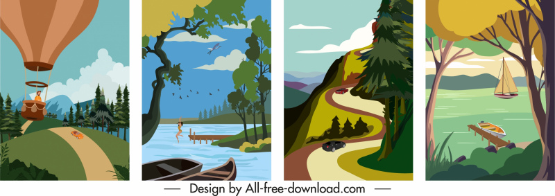 scenery posters templates colorful classic design