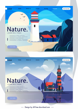 scenery website templates colorful cartoon design