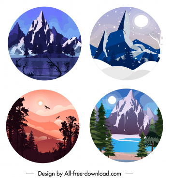 scenic backgrounds mountain forest lake sketch circle isolation