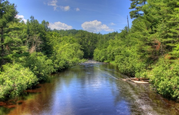 scenic landscape of the bad river at copper falls state park wisconsin