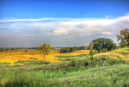 scenic landscape of the valley and fields at chain o lakes state park illinois