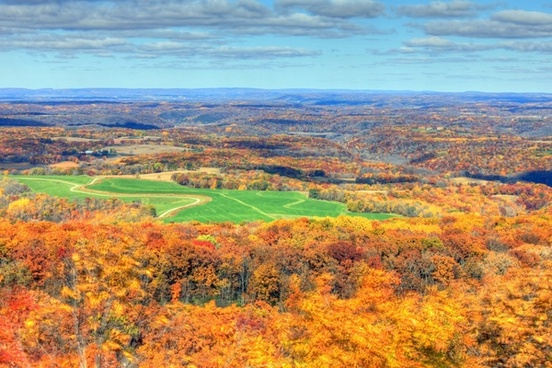 scenic overlook during the fall in blue mound state park wisconsin
