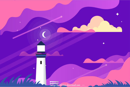 scenic painting night sky lighthouse decor colorful flat