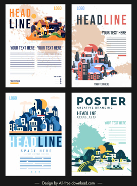 scenic poster templates grunge classic decor houses sketch