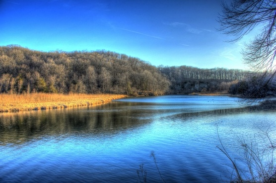 scenic river landscape at backbone state park iowa
