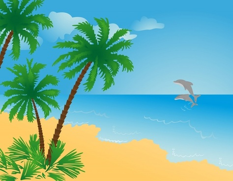 sea scene painting coconut dolphin icons decor