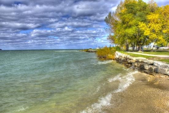 scenic shoreline at egg harbor wisconsin