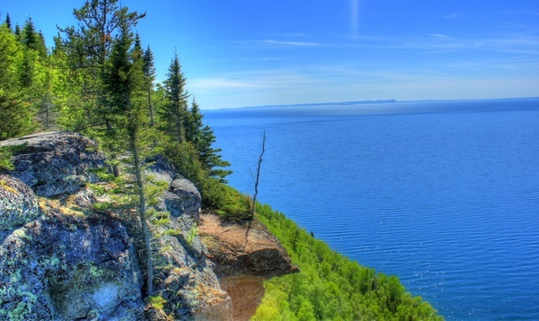 scenic view from the balcony at sleeping giant provincial park ontario canada