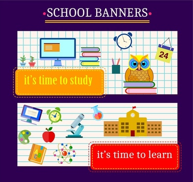 school banners design education elements on page background