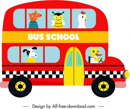 school bus icon colorful flat sketch stylized cartoon