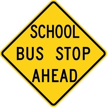 School Bus Stop Ahead Sign clip art