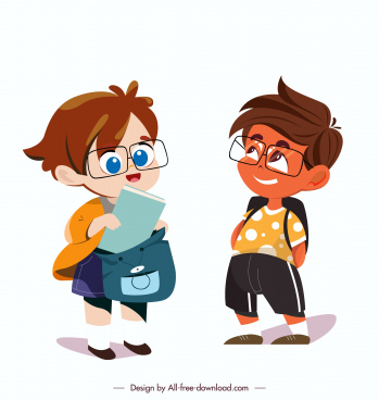 school children icons cute cartoon characters sketch