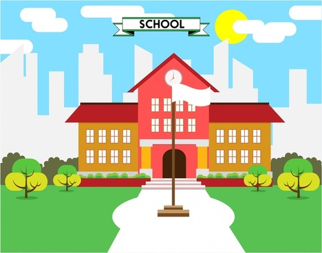 school concept design colored style sketch