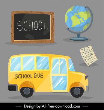 school design elements chalkboard globe bus sketch