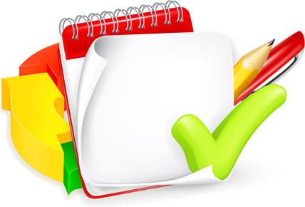 school elements and paper design vector