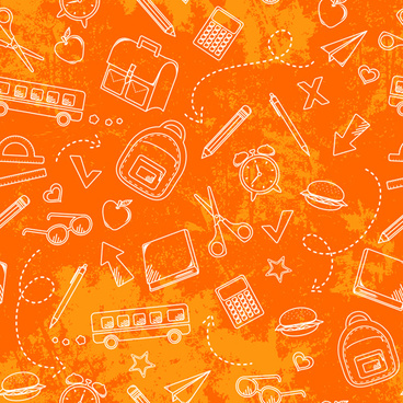 school elements vector pattern set