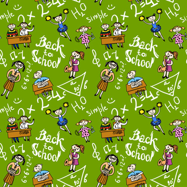school elements with students seamless pattern vector