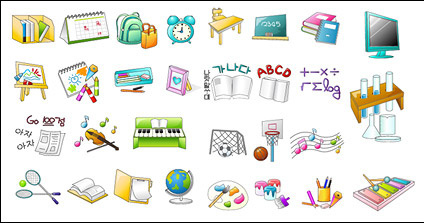 School items icon vector material