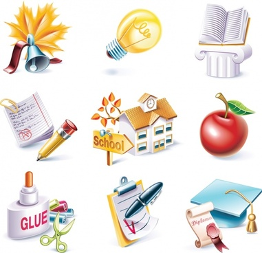 school theme icons vector