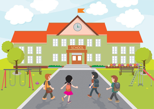 school vector illustration with kids coming to school
