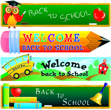 school with pencil vector banners