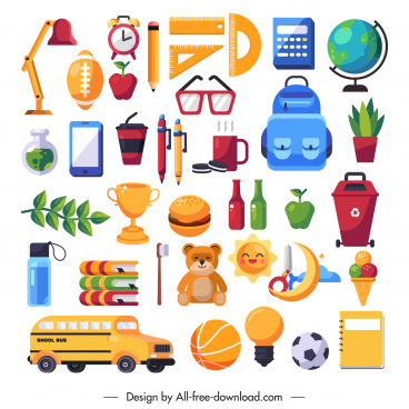 school work design elements colorful objects sketch