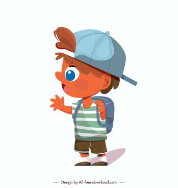schoolboy icon colored cartoon character