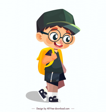 schoolboy icon cute cartoon character sketch walking gesture