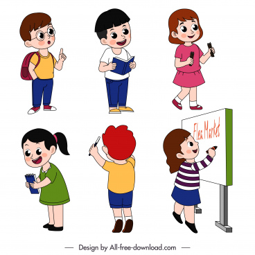 schoolchildren icons cute cartoon character sketch