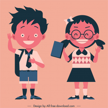 schoolchildren icons cute cartoon characters sketch