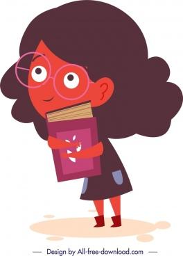 schoolgirl icon colored cartoon character design