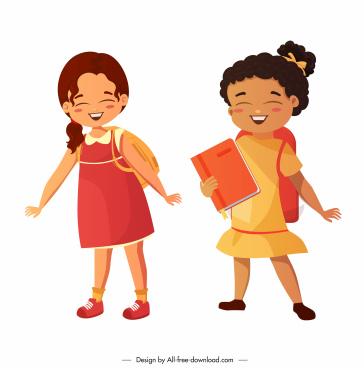 schoolgirls icons cute smiling sketch cartoon characters