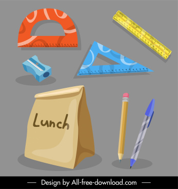 schooling icons educational tools objects sketch