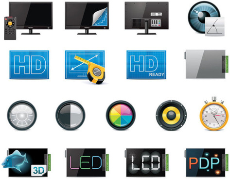 science and technology product icons set vector