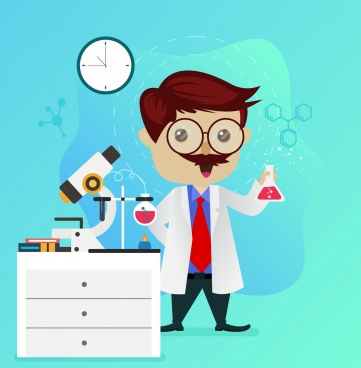 science background lab tools male scientist icons