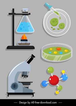 science lab tools icons glassware microscope molecular sketch