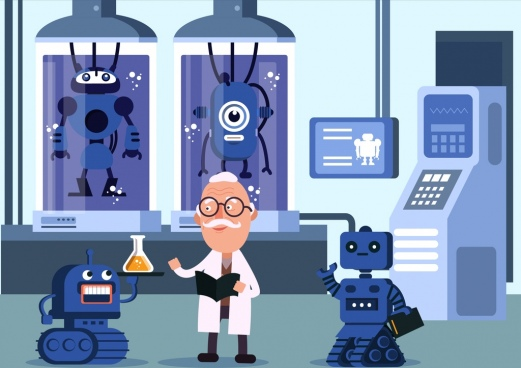 science work background scientist laboratory robot icons