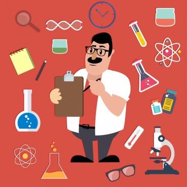 science work design elements scientist lab tools icons