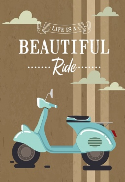 scooter advertisement retro design text ribbon ornament